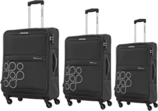 Kamiliant by American Tourister Venda Softside Spinner Luggage Set of 3, with TSA Lock - Black