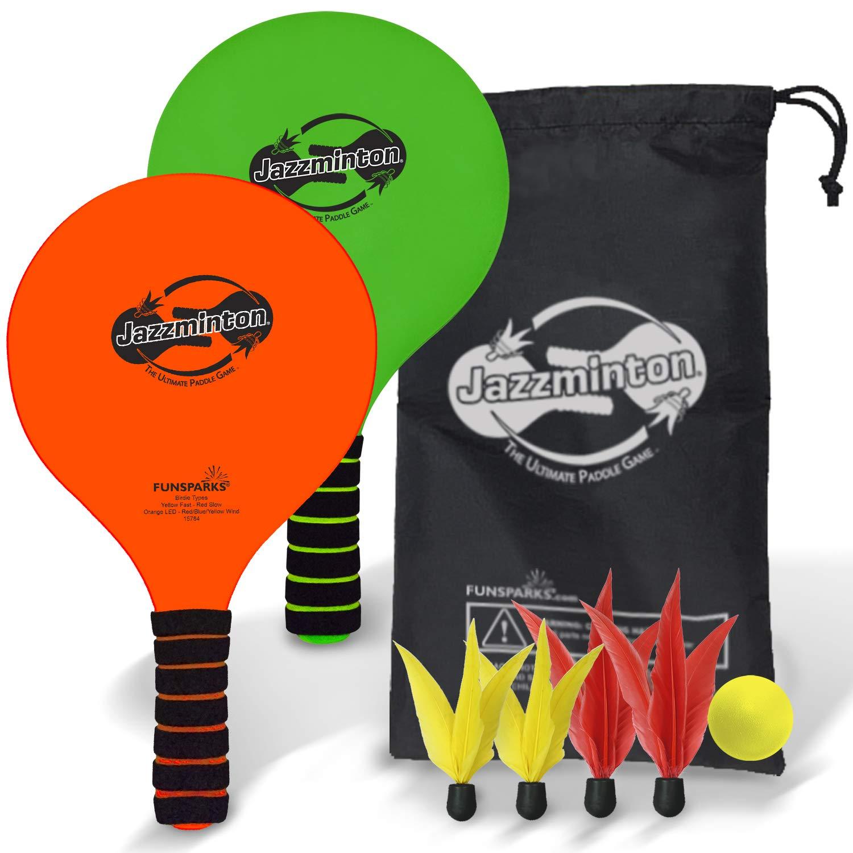 Funsparks Jazzminton - Juego de pelotas de remo con bolsa de transporte, juguete para interiores y exteriores,