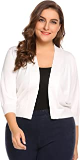 IN'VOLAND Womens Classic 3/4 Sleeve Knit Open Front Cropped Cardigan