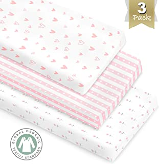 3 Pack GOTS Certified Organic Cotton Changing Pad Covers or Cradle Sheet for Girl, with Safety Strap Holes