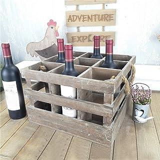 BANNAB Casier à vin Vintage Ancien Panier de Rangement Panier à vin Antique en Bois Massif 9 Bouteilles Finition Multi-Fon...