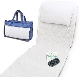 Full Body Bath Pillow & Mat - Non-Slip, Plus Konjac Bath Sponge, Luxury Cushion, Supports your head, Neck, Shoulder, Back ...