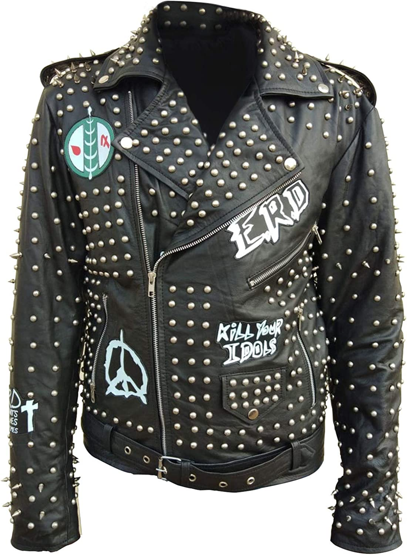 Spazeup Mens ERD Kill Your Idols Funky Studded Punk Brando Motorcycle Black Leather Jacket