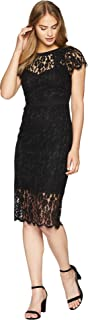 Bebe womens Blush Cap Sleeve All Over Lace Midi Dress Casual Night Out Dress