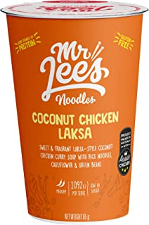 Mr Lee's Coconut Chicken Curry Laksa Instant Cup Noodles, Gluten Free Rice Noodles, Bulk Box of 8 x 65g