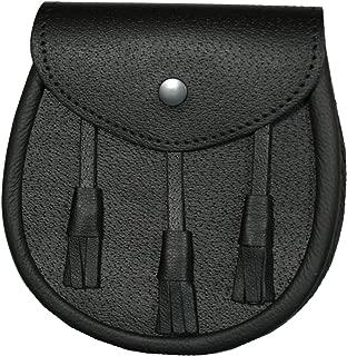 Classic Black Premium Leather Sporran - Made in Scotland