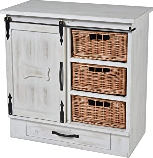 """Elk-Home 771422 Thoroughbred - 31.5"""" Pet Feeder Cabinet, Weathered White/Natural.Stainless Finish"""