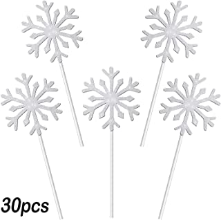 Ancestbless Set of 30 Cake Topper Glitter Decoration Cake Inserter Card for Christmas Birthday Party Baby Shower Wedding Snowflake Silver