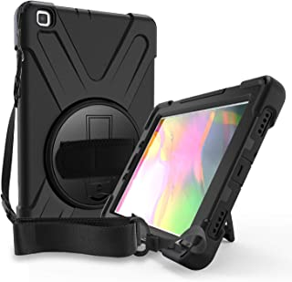 SUPWANT Samsung Galaxy Tab A 8.0 Case 2019 SM-T290, Shockproof Protective Case Cover with 360 Kickstand, Hand Strap,Shoulder Strap for Samsung Galaxy Tab A 8.0 Inch 2019 (SM-T290 /SM-T295) (Black)