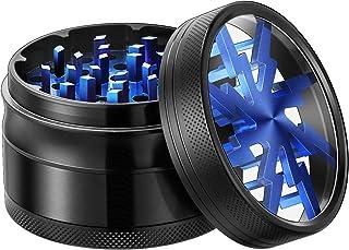 "VIVOSUN Herb Grinder 2.5"" 4 Pieces Clear Top Lightning Pattern Aluminium Grinder with Pollen Scraper Blue"