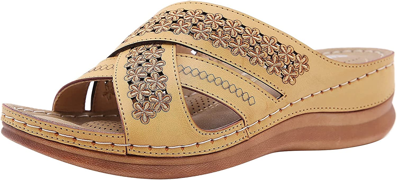 USYFAKGH Womens Slide Sandal Women Girls Pearl Flat Bohemian Style Casual Sandals Slippers Beach Shoes