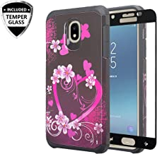 Galaxy J7 Star Case, J7 Crown/J7 Refine /J7 V 2nd Gen /J7 Aura w/[Tempered Glass Screen Protector] GW USA Silicone Shock Proof Dual Layer Hard Case Cover for Samsung Galaxy J7 2018 - Hot Pink Heart