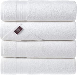 REGAL RUBY White Bath Towels Quick-Dry High Absorbent 100% Turkish Cotton Lightweight Towel for Bathroom, Guests, Pool, Gy...