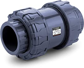 HYDROSEAL Sharkfellow 2'' PVC True Union Ball Check Valve with Full Port, ASTM F1970, with EPDM Seals, Corrosion-Free, Ser...