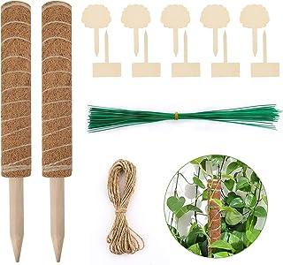 ATUIO - Poteau de Support de Plante, Plante Poteau Bâton de Coco [40cm*2], avec [10 Etiquettes en Bois] et [50 Rubans de C...