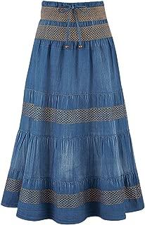 Best tier long denim skirts Reviews