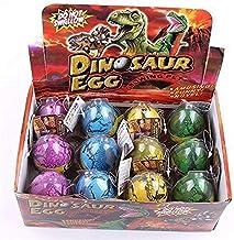 Wenosda Dino Dinosaur Dragon Eggs Hatching Growing Toy Paquete de Gran tamaño de 12 Piezas (grieta Colorida, 12 Piezas)