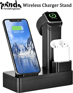 PandaKingGlass 10W Fast Wireless Charger Stand for iPhone Xs Max/Xs/XR/X/8/8 Plus, 4 in 1 Charging Dock for iPhone, Apple Watch Series 4/3/2/1 & AirPods, Charge Station for iWatch & EarPods (Black)