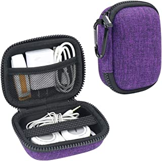 Iksnail Headphone Organizer Bag, Travel Carrying Case Shockproof Portable Storage Pouch for Wireless Earbuds Bluetooth Headphone, USB Flash Drive, USB Cable,Purple
