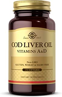 Solgar Cod Liver Oil, 250 Softgels - Supports Healthy Immune System, Healthy Eyes & Vision & Bone Health - Vitamin A & D S...
