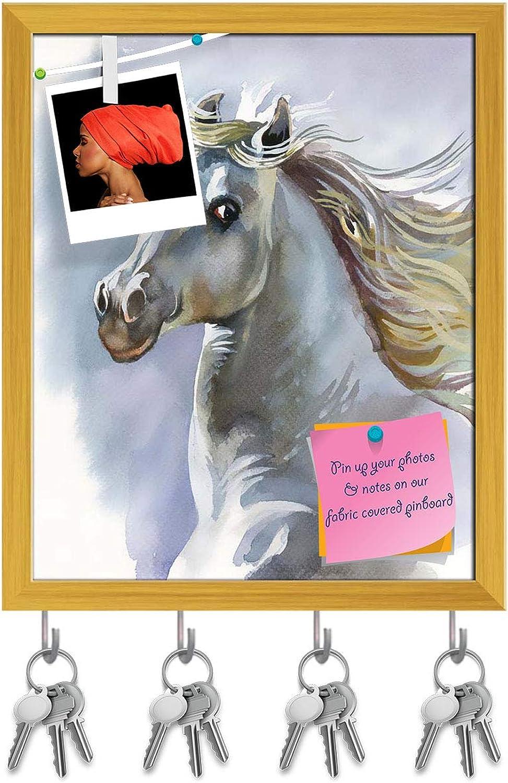 Artzfolio White Horse D3 Key Holder Hooks   Notice Pin Board   golden Frame 16 X 19.6Inch