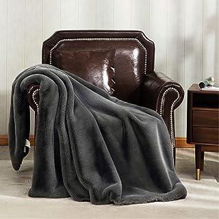 Bedsure Super Soft Rabbit Faux Fur Throw Blanket - Thick Luxurious Faux Fur - Plush Warm Fuzzy with Fleece Reversible Thro...