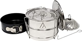 ArkType Stackable Stainless Steel Pressure Cooker Steamer | Non Stick Spring Form Pan | Foldable Steamer | Instant Pot Accessories Bundle