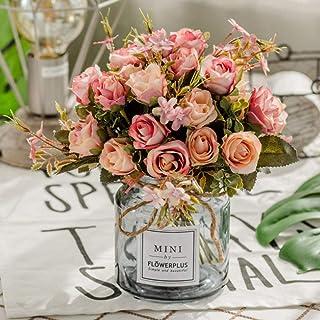 comprar comparacion BuleXP 3 Pieza 10 Cabezas Flores Artificiales Rosas Decoración Plásticas Bouquet de Seda Simulación Flores Falsas para El ...
