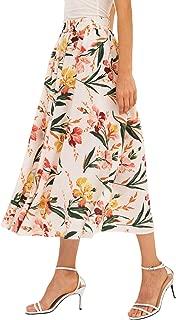 Chartou Women's Vintage Color-Block Floral Print Elastic-Waist Pleated A-Line Skater Skirts
