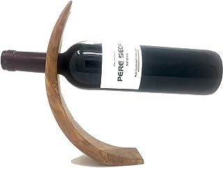 Portabotellas de vino hecho a mano, hecho de madera de olivo