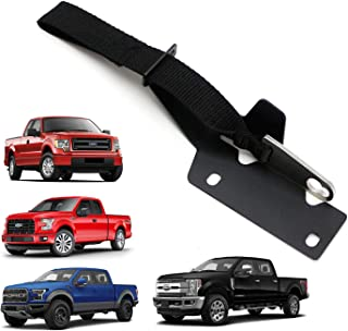 iJDMTOY Rear/Back Seat Quick Release Kit w/Black Strap & Silver Hook/Ring For 2009-up Ford F150 4-Door, 2017-up Ford Raptor, F250 F350, etc