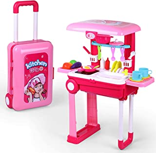 Pretend Play Kitchen Playset for Kids | Little Chef Kitchen set Toy with Accessories Pots, Pans, dishes, cups, utensils,f...