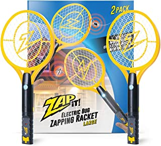 ZAP IT! Bug Zapper Twin-Pack Rechargeable Mosquito, Fly Killer and Bug Zapper Racket - 4,000 Volt - USB Charging, Super-Br...