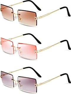 3 Pairs Rimless Rectangle Sunglasses Tinted Frameless...