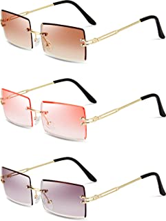 Best 3 Pairs Rimless Rectangle Sunglasses Tinted Frameless Eyewear Vintage Transparent Rectangle Glasses for Women Men Review