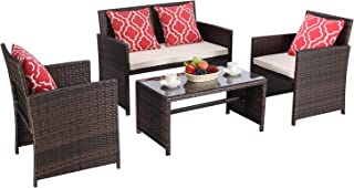HTTH 4-Piece Outdoor Patio Furniture Sets Wicker Sofa with Cushions and Coffee Table Garden Lawn Pool Backyard Outdoor Sofa Sets (Multicolor Wicker-Beige Cushion)