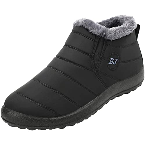 6f1086c27c FEETCITY Mens Snow Boots Women Winter Anti-Slip Ankle Booties Waterproof  Slip On Warm Fur