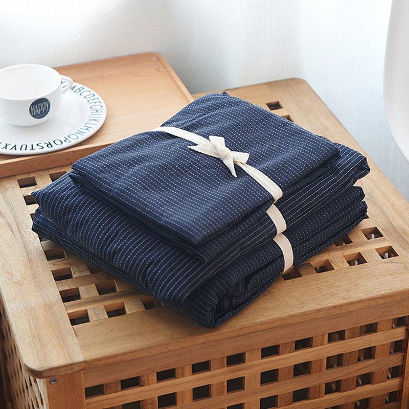 JHロンゲス非印刷綿織り綿4ピースコットンキルト刺繍コットンキルトカバーシートベッドシングル人床シングルベッドスリーピースダブルベッド供給キット(X.綿のとげ - 青色、ベッド1.8 1.8メートルのベッド/ 4セット(キルトカバー200 * 230 cm))