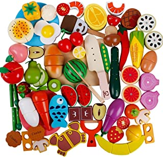 bodolo 51pcs Play Food Set for Play Kitchen Wooden Magnetic Fruits and Vegetables Pretend Cutting Toys Educational Learning Kitchen Set for Kids Toddler Boys Girls