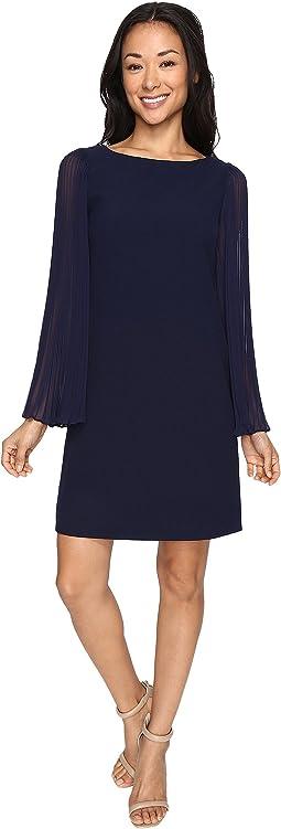 Crepe Chiffon Shirt Dress w/ Overlay & Pleated Sleeves