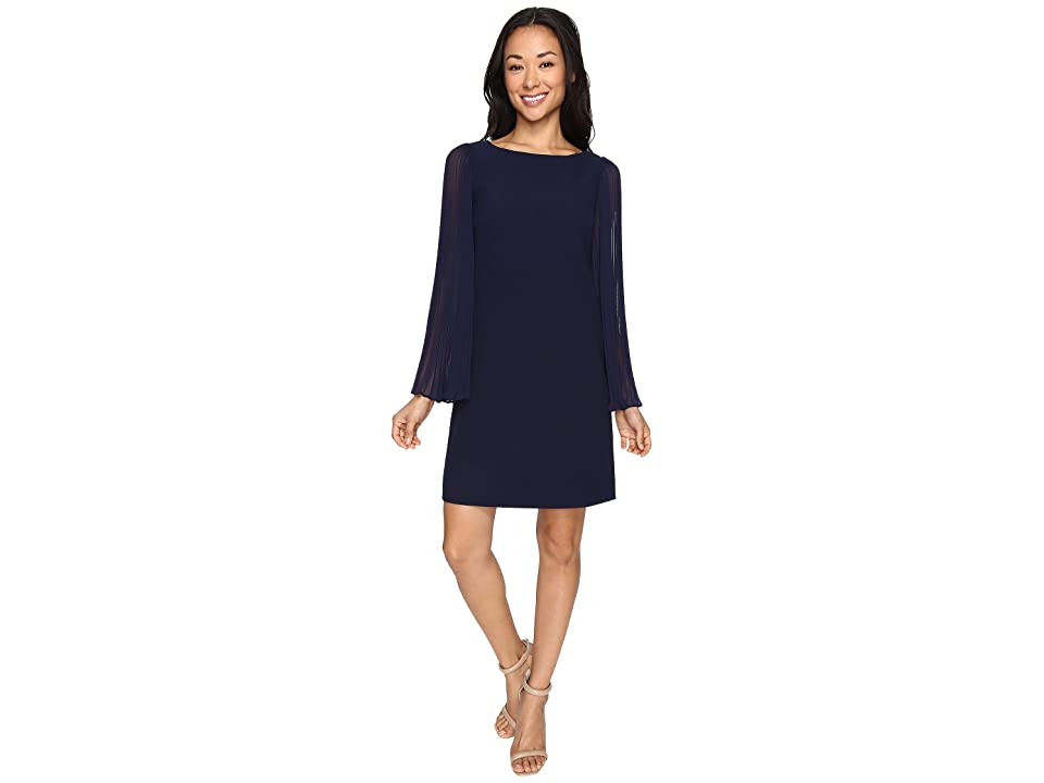 Vince Camuto Crepe Chiffon Shirt Dress w/ Overlay Pleated Sleeves (Navy) Women