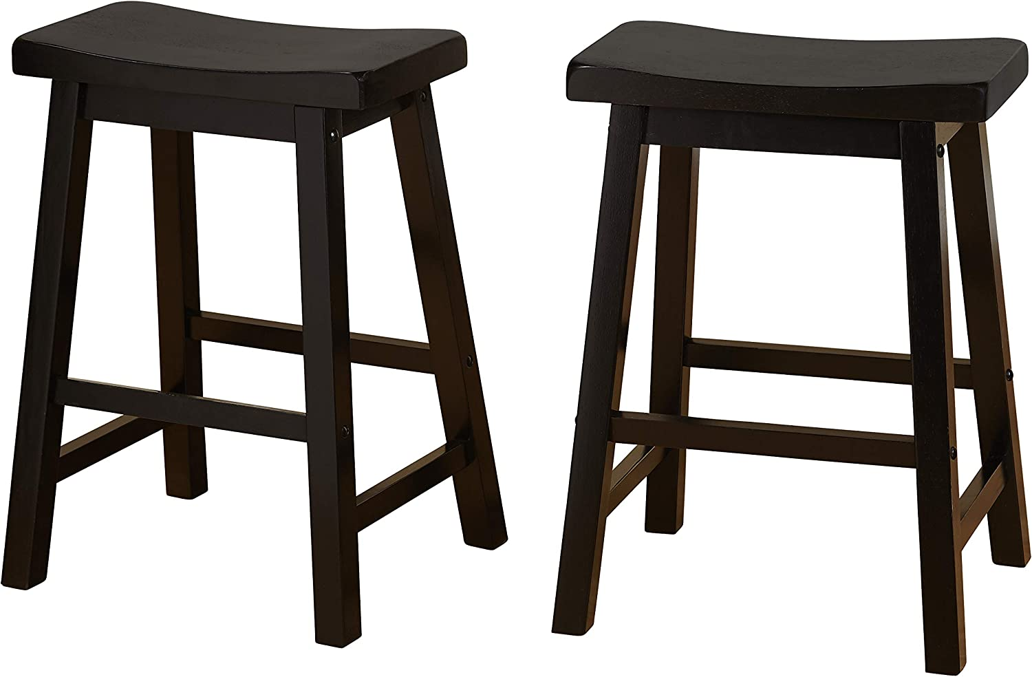 Target Marketing Systems Set of 2 24-Inch Belfast Wooden Saddle Stools, Set of 2, Black
