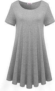 d47b36f0df FREE Shipping by Amazon. BELAROI Womens Comfy Swing Tunic Short Sleeve  Solid T-Shirt Dress
