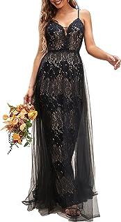 Ever-Pretty Women's Maxi A-line Sleeveless Lace Black Wedding Dresses for Bride 90337