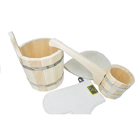 Assortiment accessoires pour Sauna ou Bania Russe - Seau en bois - 5 litres - Louche en Bois - 0.5 l - Bonnet pour sauna - Gant pour sauna