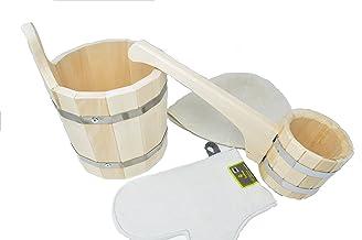 Assortiment accessoires pour Sauna ou Bania Russe - Seau en bois - 5 litres - Louche en Bois - 0.5 l - Bonnet pour sauna -...