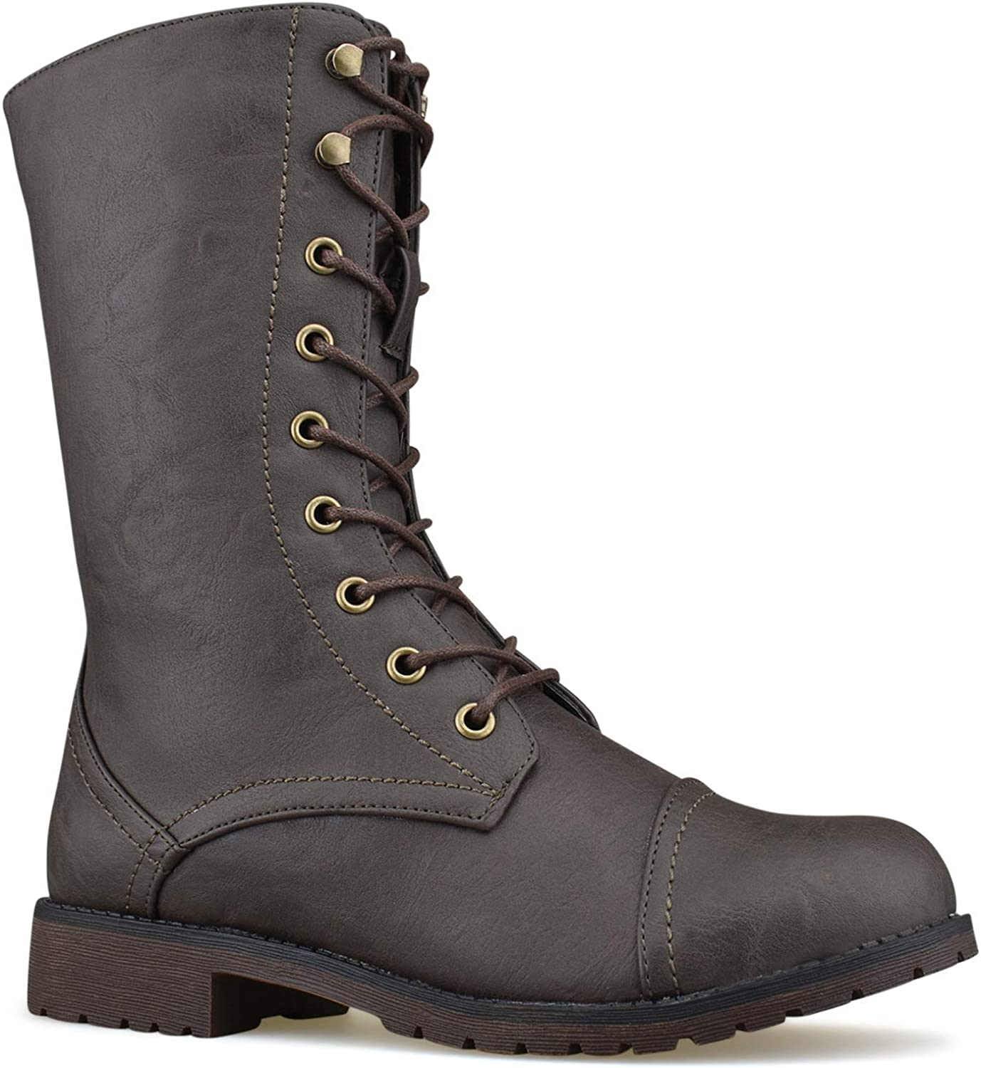 Zgshnfgk Women's Military Ankle Lace up Buckle Combat Boots Mid Knee High Exclusive Booties