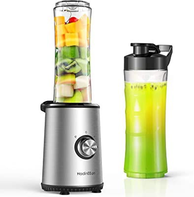 HadinEEon Smoothie Blender, 3 Modes Portable Stainless Steel Blender with 2 of 600ml BPA-Free Bottle for Shakes, Fruit, Vegetables, Baby Food, 350W
