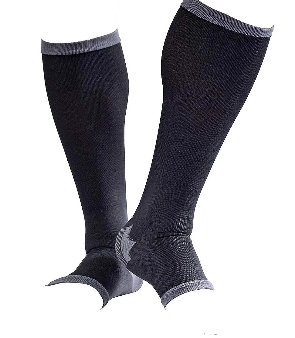 マイルではごきげんよう貼り直す男性専用脚すっきり対策オープントゥ着圧ソックス 膝下 L-LL 順天堂大学客員教授推奨
