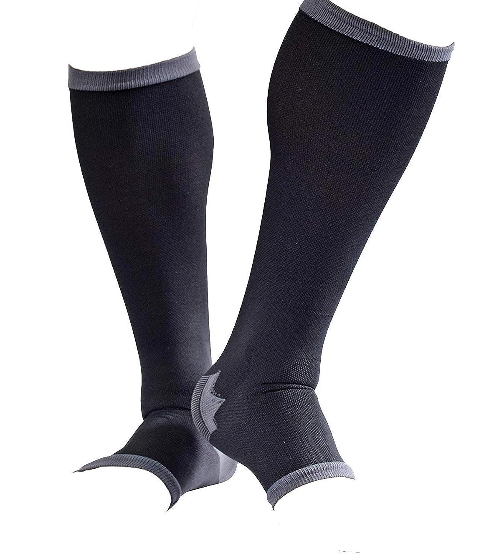 男性専用脚すっきり対策オープントゥ着圧ソックス 膝下 L-LL 順天堂大学客員教授推奨